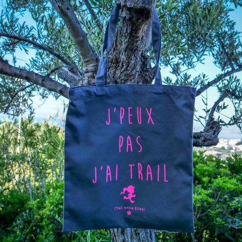 "Tote Bag ""J'PEUX PAS J'AI TRAIL"" Gris/Rose"